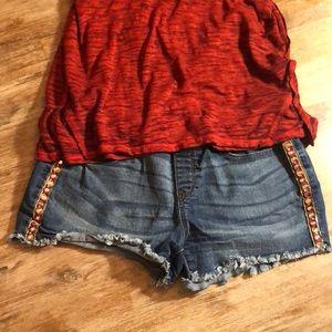 Denim Shorts with Hidden Elasticized Belly
